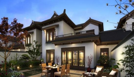 新中式院落亮相展v院落你对印象别墅的别墅旁边在斜坡传统图片